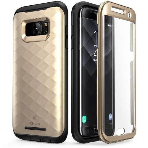 Galaxy S7 Edge Hülle, Clayco [Hera Serie] Schutzhülle Ganzkörper Handyhülle Kratzfest Case/Cover mit eingebautem Displayschutz für die Samsung Galaxy S7 Edge (2016 Ausgabe) (Gold)