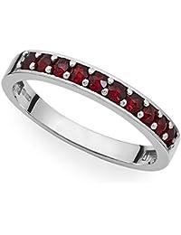 4b1880a924ee Verdster Anillo De Granate para Mujer Hechos A Mano con 10 Piedras Preciosas  De Granate Checo   Perla - Plata…