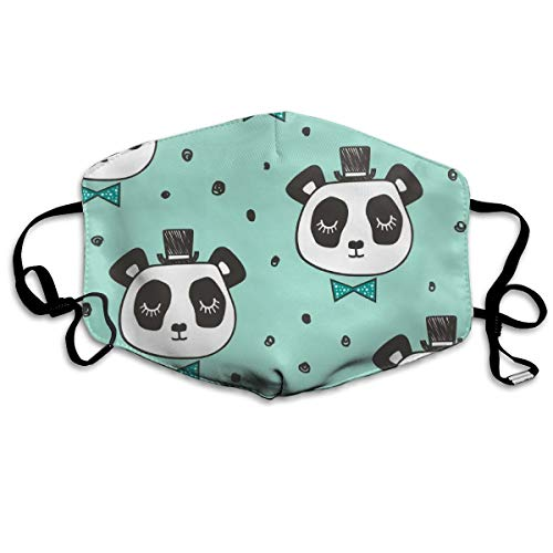 Panda Head With Bow Tie And Hat Dots On Mint Anti Dust Mask Anti Pollution Washable Reusable Mouth Masks