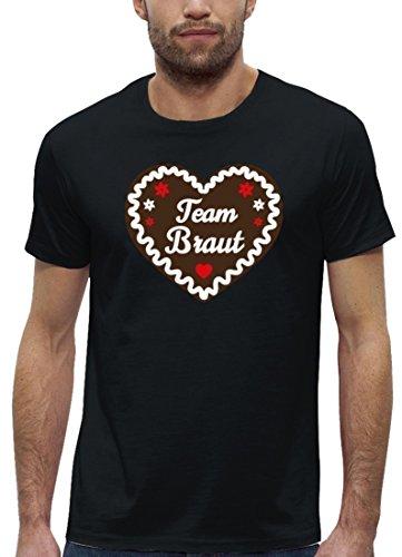 JGA Premium Herren T-Shirt aus Bio Baumwolle JGA 68 - Team Braut Lebkuchenherz Stanley Stella Black