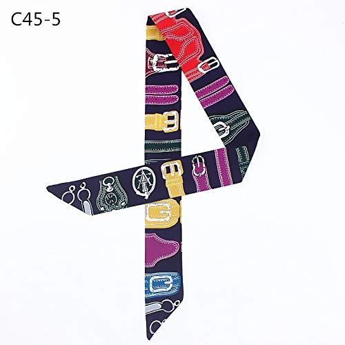 HQYYDD UhrenarmbandDruck Seidenschal Frauen Marke Schal Tasche Bänder Mode Kopftuch Kleine Lange Schals C45 C45-5