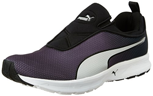 Puma Men's Ef Cushion Slipon Fade DP Asphalt, Black and Puma Silver Running Shoes - 10 UK/India (44.5 EU)
