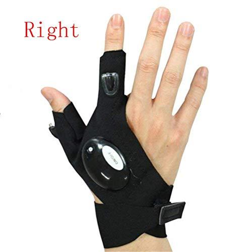 Hihey LED Taschenlampe Fingerlose Handschuhe, LED Magic Strap Handschuhe mit 2 LED-Licht zum Angeln, Camping, Reparieren, Arbeiten in der Dunkelheit Orte und Outdoor-Aktivitätening (Schwarz rechts) - Fische 2 Licht