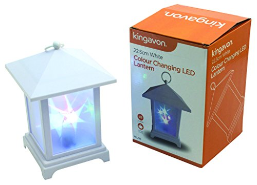 Kingavon 22.5 cm White colour Changing LED Lantern, Plastic,