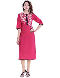 Palakh Women's Cotton A-line Embroidered Kurti (Pink)