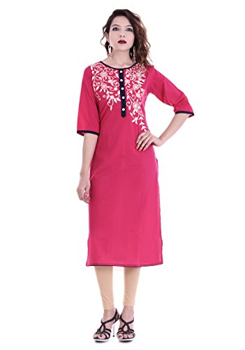 Palakh Women's Cotton A-line Embroidered Kurti (PK1015611-S_Small,Pink)
