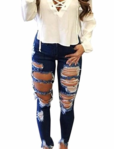 Emma Women's High Waisted Pencil Jeans Skinny Destroyed Ripped Hole Denim Pants Long Stretch Trousers Loose Plus