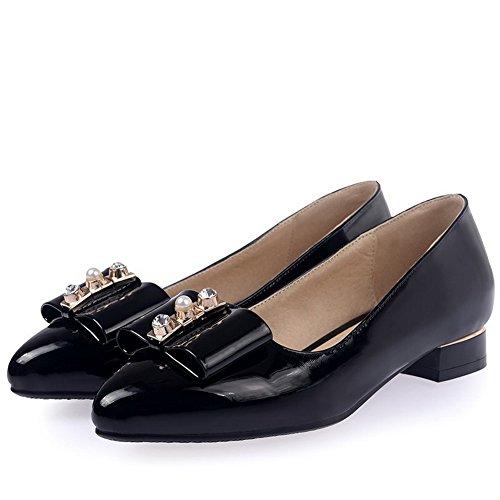 AgooLar Femme Couleur Unie Matière Mélangee à Talon Bas Tire Pointu Chaussures Légeres Noir