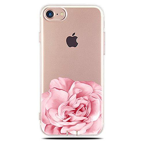 Pour iPhone 7 Coque, iPhone 7 Case Silicone, SevenPanda transparente TPU souple ajustement Parfait fin Bumper en caoutchouc souple chocs Scratch Résistent à clair mignon Creative coloré avec motif pei Rose