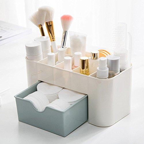 Étuis et supports,Covermason Tiroir de Rangement Bureau Maquillage Cosmétique Supports Boîte économiser de l'espace (22X10X10.3 cm, Bleu)