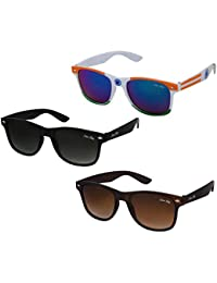 Silver Kartz UV Protection Aviator and Wayfarer Unisex Sunglasses (kr001, 55, Black) -Combo of 4