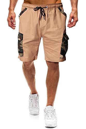 Herren Shorts Kurze Hose Herren Cargo Shorts Bermuda Short Herren Sweatshort Sportshorts Freizeit Laufen Lässige (Khaki, mit Camouflage Tasche, M)