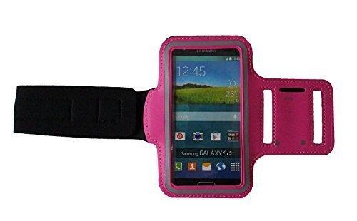Dunkel Pink M Sport Armband Schutz Hülle für Samsung Galaxy S5 und Grand Prime Case veränderbarer Länge, Rennen, Workout, Wandern, Fitness und Laufen mit Kopfhöreranschluss aus Neopren - Dealbude24
