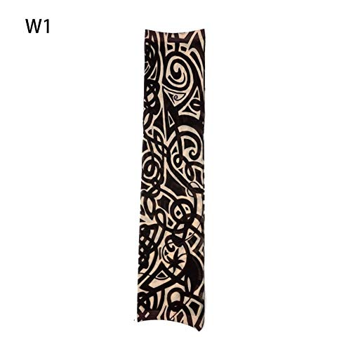 1pc Fake Tattoo Elastic Arm Sleeve Arm Stockings Sport Skins Sun Protective Waterproof Unisex Shoulder Tattoo Sleeve Men Women (Designs Halloween Sleeve Tattoo)