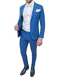 Abito completo uomo Trade Sartoriale azzurro elegante made in Italy con  papillon e pochette 410fab1d733
