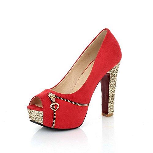 balamasa Femme Paillettes givré Sandales à enfiler Rouge - rouge