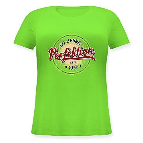 Geburtstag - 60 Jahre Perfektion seit 1957 - Lockeres Damen-Shirt in großen Größen mit Rundhalsausschnitt Hellgrün