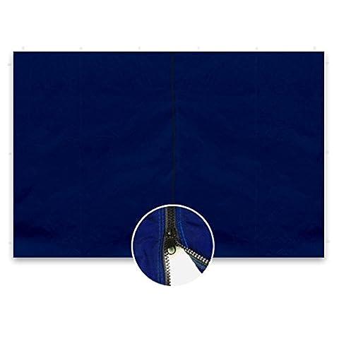 2 Seitenteile ohne Fenster blau für PROFI Falt Pavillon 3 x 3 m Reißverschluss