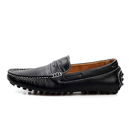 Enllerviid Homme Slip-ons Décontractée Conduire Une Voiture Cuir divisé Flâneurs Mocassins Chaussures Noir