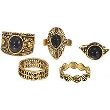 Orientalische Vintage Midi-Ringe Stapelringe Ring Set Schmuck-Set in Silber-oder Gold-Optik mit Elefant Dreieck Schlange Om-Zeichen verschiedene Symbole von DesiDo®