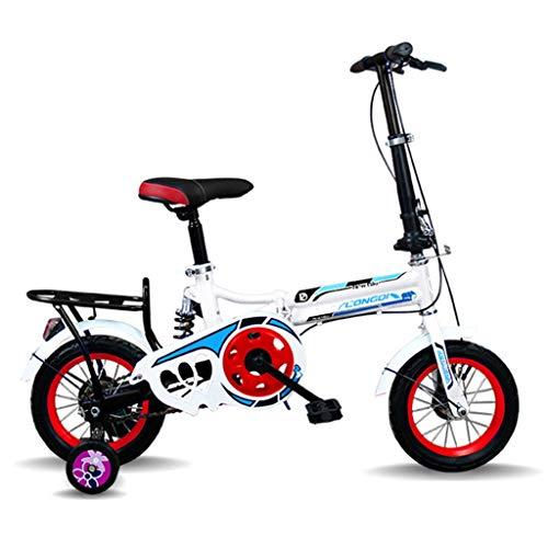Kinderfahrräder Einräder Kinder-Klapprad 12-Zoll-Ultraleicht-Handfahrrad Herren- Und Damenfahrräder Für Die Grund- Und Sekundarschule (Color : Weiß, Size : 12in)