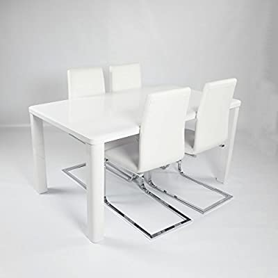 Charles Jacobs Dining Table Set with 4 White Chairs,White High Gloss MDF Top and Thick Solid Legs, 4 Seats - Premium Quality