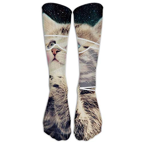 Wfispiy Fantasy Cat Glasses Space Fun Novelty Calf Long Sock Crew Athletic Tube High Stockings Sport