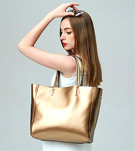 Remeehi Ladies Fashion Cattle Hide borse grandi dimensioni una borsa a tracolla, Black (Avorio) - JXQ0695-6 Golden