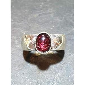Granat Ring aus 925er Silber mit rotem Granat, Unikat, Gr.58, Handarbeit
