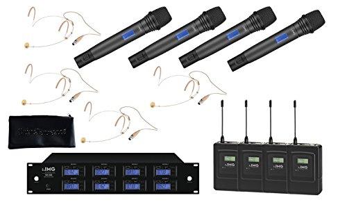 IMG Sistema Microfonico Wireless Professionale UHF 1000 Canali / 4 Headset / 4 Palmari