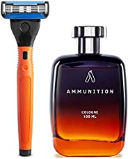 Ustraa Ammunition Cologne Spray For Men, 125ml and Ustraa Gear - 5 Blade Razor with Contoured Rubber Handle and Blades (Oran