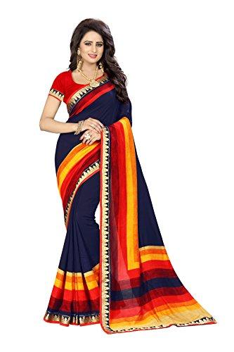 Oomph! Women's Printed Linen Silk Blend Sarees Party Wear - Indigo Blue