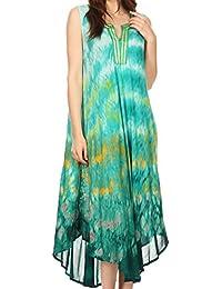 Sakkas Kalia sans manches Tide Dye Split Neck Dress / Cover Up