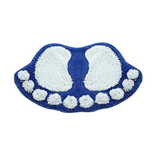 (Wawer Flaumige Matte Badezimmer Dusche Matte Zimmer Fußmatte Füße Form Rutschfeste Pad Wasserabsorbierend Cartoon-Badematte (Blau))