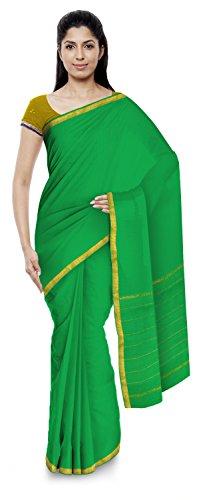 Yasin Sarees Women's Kota Doria Handloom Cotton Silk Saree With Blouse Piece (Green)