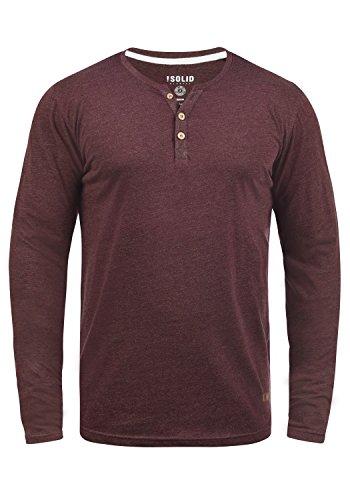 !Solid Volko Herren Longsleeve Langarmshirt Shirt mit Grandad-Ausschnitt, Größe:M, Farbe:Wine Red Melange (8985)
