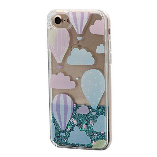 Cover Liquido per Apple iPhone 7 / 8 Plus , Keyihan Ragazza Donna Custodia Rosa Style Divertenti Brillantini Glitter Bling Liquid Flowing Case in Plastica Rigida e Silicone Morbido (Palloncino) Palloncino