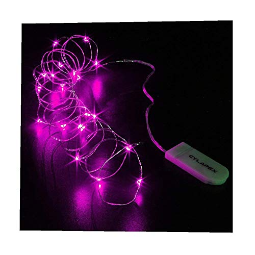 ODJOY-FAN 6 Stück 2m 20LED Dekoration Licht, Farbe Beleuchtung Zeichenfolge Batterie Sternenklar Kupfer Draht Dekor Lichter Weihnachten Dekorativ Licht String Lights (Rosa,6 PC)