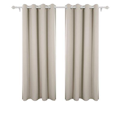 Deconovo Vorhang Blickdicht Verdunkelungsvorhang Ösenvorhang Blickdicht 175x140 cm Creme 2er Set