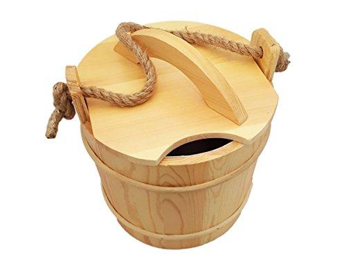 Saunakübel mit Deckel und Auslaufschutz - Saunaeimer Saunaset Saunazubehör -