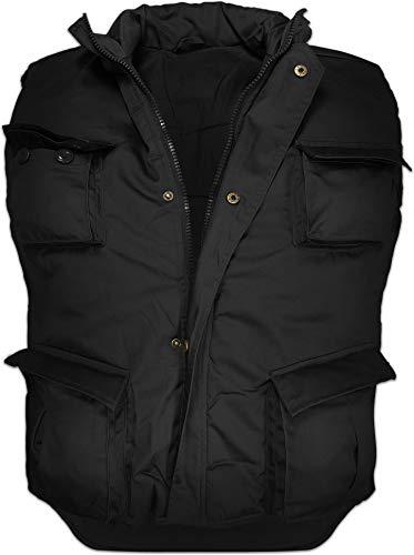 normani Wattierte Outdoor Weste mit vielen Taschen, gefüttert Farbe Schwarz Größe 6XL