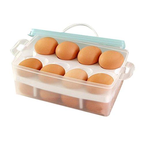 dealglad® Nouveau portable en plastique Double Couche pour réfrigérateur œuf alimentaire Boîte de rangement cas Container Titulaire Distributeur de Panier, plastique, bleu clair, Approx. 24 x 16 x 10.5cm ( L x W x H )