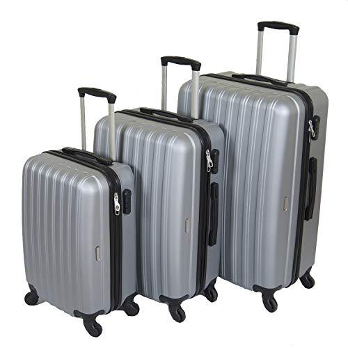 Reisekoffer 3er Kofferset Hartschalenkoffer Suitcase Trolley Koffer Hartschale Economy (Grau)