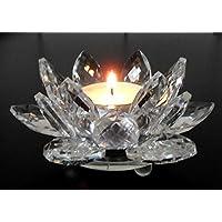 Teelichthalter Große Seerose Kristallglas Facettenschliff Seerose Glas