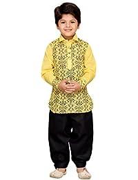 AJ Dezines Kids Ethnic Wear Pathani Suit for Boys (702_LEMON_8)
