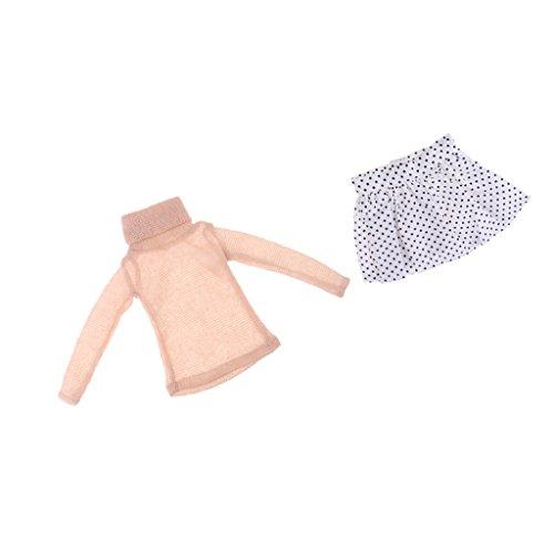 D DOLITY Elegante Mini Puppe Pullover mit Tupfen Tütü Rock Pettiskirt Puppenkleidung Für 1/3 Mädchenpuppen Zubehör - Beige (Polka Mini Rock Dot)