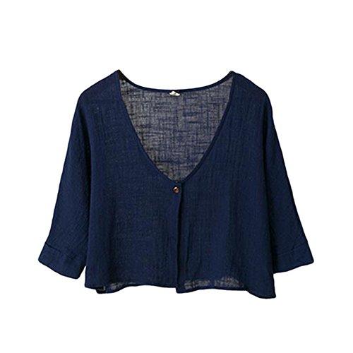 Meijunter Filles Femmes Rétro Loose Coton Lin 3/4 manches Sunscreen Chemise Soft Court Tops Bleu Marine