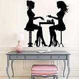 Adesivi murali Salone di Bellezza per Unghie Stile Cartone Animato Arte autoadesiva Soggiorno Adesivi per Bambini Decorazione della casa 42x43 cm