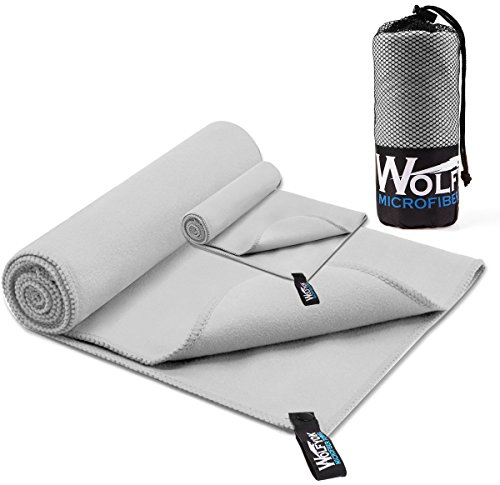 2 Stück Wolfyok Mikrofaser Sport Handtuch, wasseranziehendes und schnell trocknendes Handtuch Set, XL Ultrakompaktes Handtuch (148x75cm) und Mini Reinigungstuch (35x36cm), für Reise, Sport, Turnhalle, Schwimmen, Wandern, Strand oder Yoga (Grau)