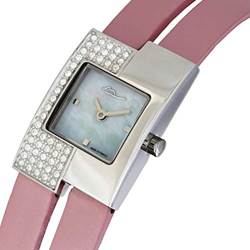 Moog Paris Off-line Women's Watch with White Mother of Pearl Dial, Pink Genuine Leather Strap & Swarovski Elements - M44052F-104